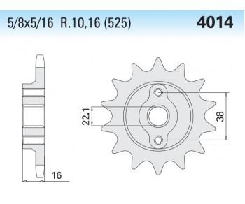 4014K Front Steel Sprocket #525 T-14